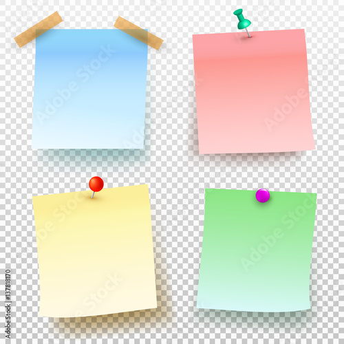 Set Of Colored Sticky Note And Push Pin Isolated On Transparent