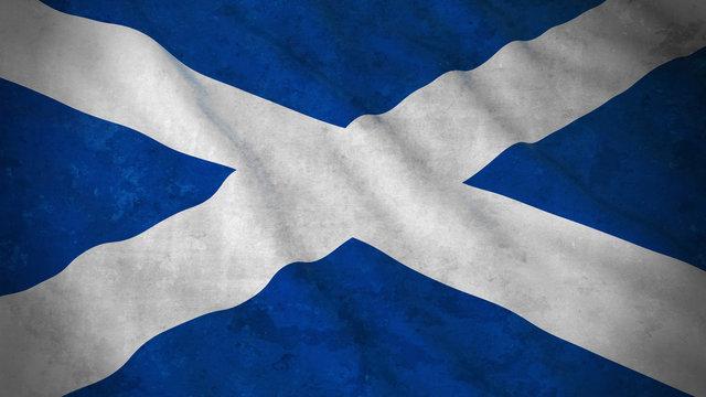 Grunge Flag of Scotland - Dirty Scottish Flag 3D Illustration