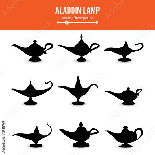 """Aladdin lamp Vector. Set Icons Aladdins lamp Signs ..."
