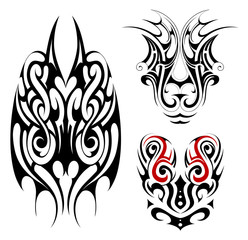 Gothic style tattoo shapes
