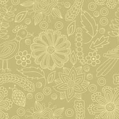 Vector seamless pattern with abstract floral elements, insects and birds. Elements are hidden under mask, not cut off. Contour is smooth. Swatch is in the panel. Perfect for wallpaper, textile print