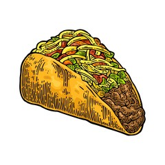 Tacos - mexican traditional food. Vector color vintage engraved