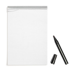 Blank note book with black pen