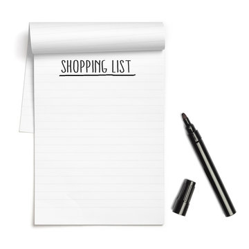 Shopping List on note book with black pen