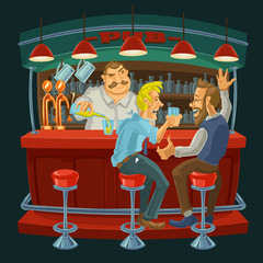 Cartoon illustration of friends drinking whiskey in the bar