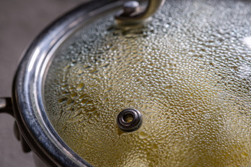 cooking in pot pan with cover
