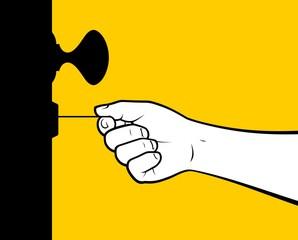 Man hand open hotel electronic lock