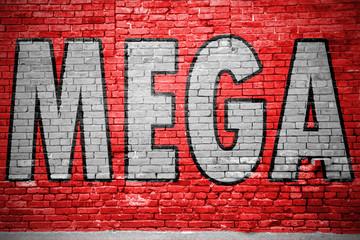Mega Ziegelsteinmauer Graffiti