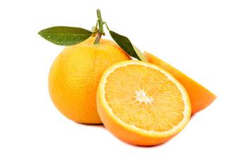 Orange fruit with half