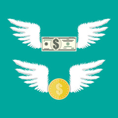 Golden coin and dollar bill with wings.