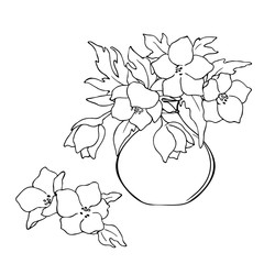 vector black white contour sketch of wild flowers in the vase