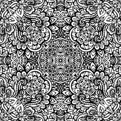 Hand drawn Zentangle seamless pattern.