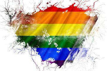 Grunge old Gay pride  flag