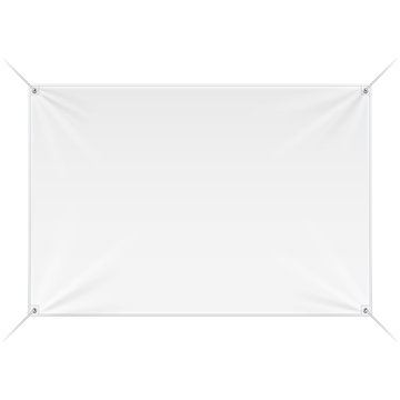 Fabric Wall Streamer Vinyl Flex Banner, Advertising Shield. Mock Up, Template. Illustration Isolated On White Background. Ready For Your Design. Product Advertising. Vector
