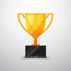 Gold trophy. Vector illustration.