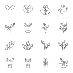 Leaf  line icons, Vector illustration.