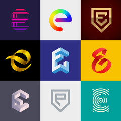 """Letter """"E"""" big logo pack. Creative vector monograms. Striped, ribbon, colorful, isometric, linear, 3d logos.Eps10 format."""
