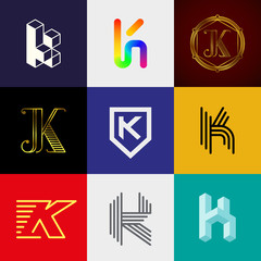 "Letter ""K"" big logo pack. Creative vector monograms. Striped, ribbon, colorful, isometric, linear, 3d logos.Eps10 format."