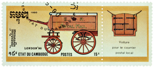 Old mail-coach on postage stamp