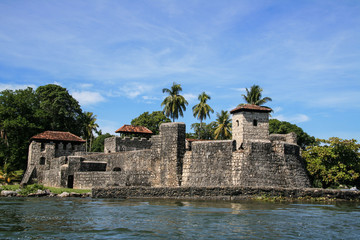 Castle of San Felipe next to Dulce river. Guatemala