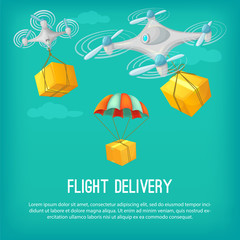 Flight delivery concept. Cartoon vector illustration. Drone and parachute flying shipping.