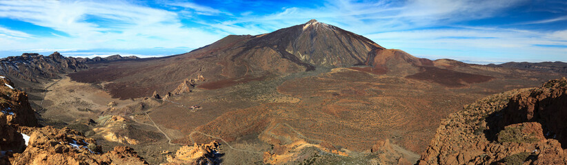 Panoramic view of the volcanic boiler and Teide peak in Tenerife. Canary Islands.