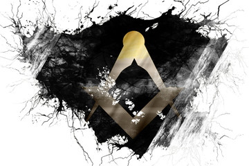 Grunge old freemason symbol flag