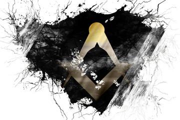 Grunge old freemason symbol flag