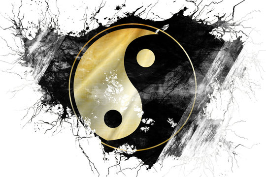 Grunge old yin yang symbol flag