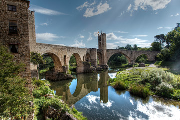 Medieval bridge of Besalu. Spain