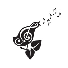 icon of singing bird with beak and notes