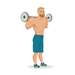 Muscular man vector characters isolated on white background