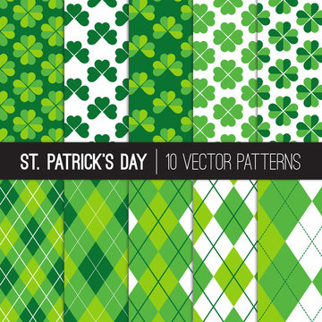 St Patrick's Day Patterns. Green Shamrocks and Argyle Plaid Backgrounds. Lucky Four-leaf and Three-leaf Clovers. Vector Pattern Tile Swatches Included.