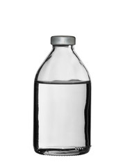 glass bottle with a medical product on a white background