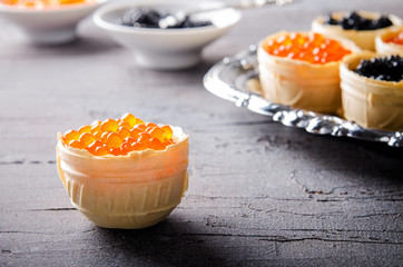 Black and red caviar tartlets, appetizer canapes on silver tray