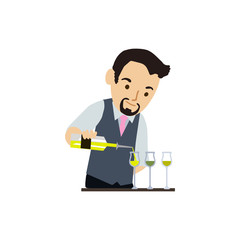 Bartender vector characters isolated on white background