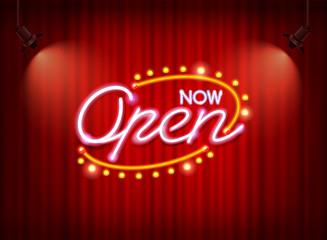 neon open sign on curtain