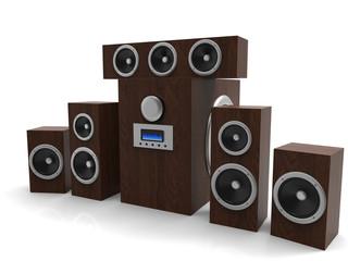 Speakers. Speakers with subwoofer. Surround system. Equalizer subwoofer. 3D rendering.