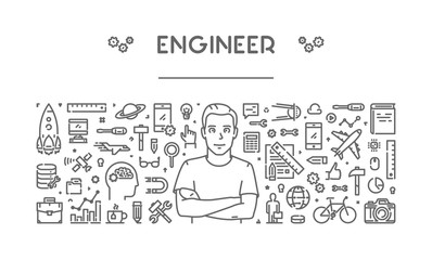Vector line concept for engineer for web