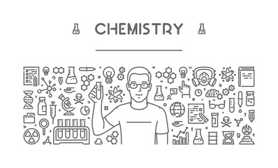 Vector line concept of chemistry for web