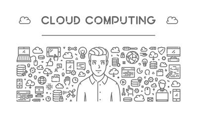 Vector line concept of cloud computing