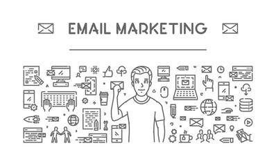 Vector line concept for email marketing