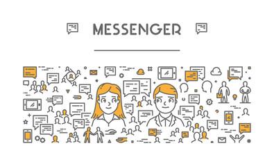 Vector line web concept for messenger