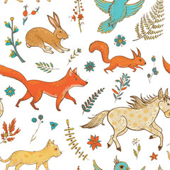 Vector seamless pattern with cute animals and plants