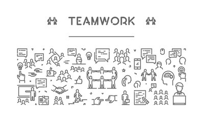 Vector line web banner for teamwork