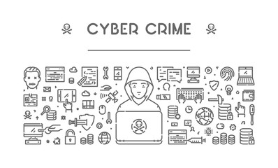 Line web banner for cyber crime and hacking