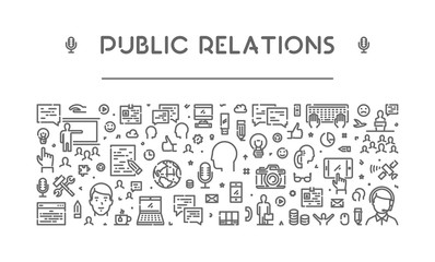 Modern line web banner for public relations