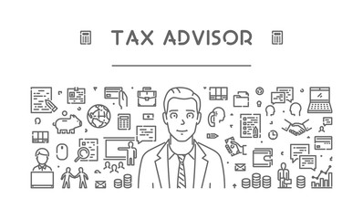 Vector line web concept for tax advisor