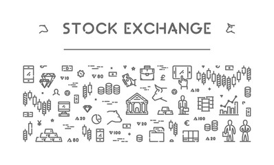 Line banner for stock market and commodity exchange