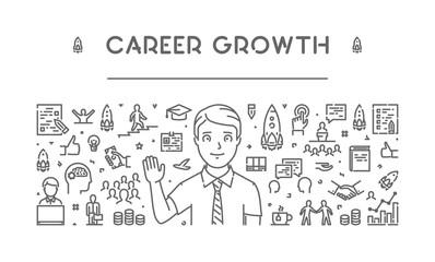 Modern line web banner for career growth
